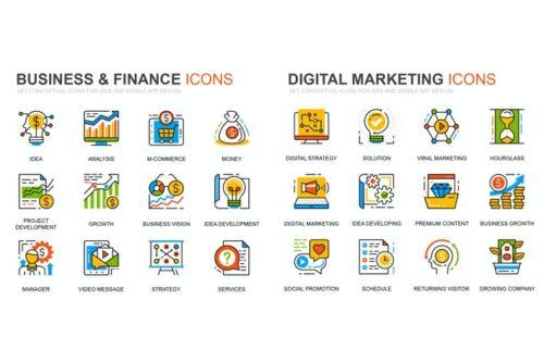 طرح لایه باز ست آیکون بازاریابی و سرمایه گذاری Finance and Marketing Line Icons Set