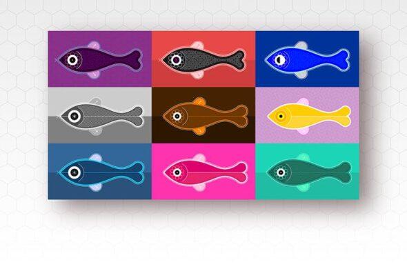 طرح لایه باز ست آیکون ماهی Fish
