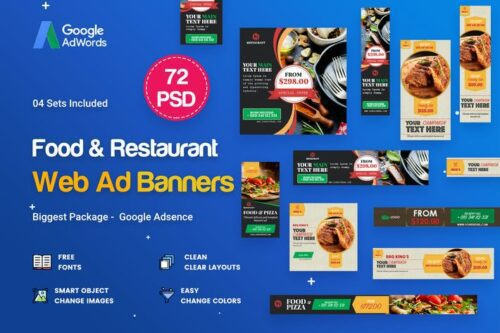طرح UI/UX بنر رستوران Food & Restaurant Banners Ad - 72 PSD