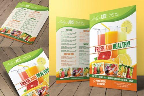 طرح لایه باز منو آبمیوه فروشی Fruit Juice Menu Flyer