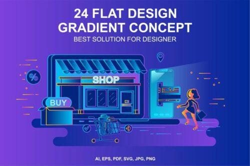 طرح لایه باز ست آیکون تجارت الکترونیک Gradient Flat Design Concepts