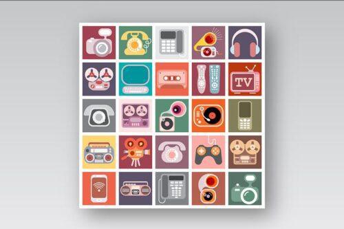طرح لایه باز ست آیکون لوازم برقی Home Electronics Vector Icon Set