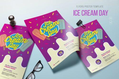 طرح لایه باز پوستر بستنی فروشی Ice Cream Day Flyer/Poster