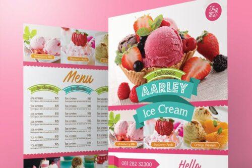 طرح لایه باز منو بستنی فروشی Ice Cream Menu