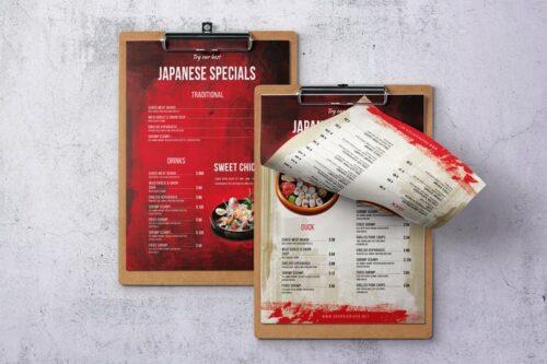 طرح لایه باز منو غذای ژاپنی Japanese Single Page A4 & US Letter Food Menu