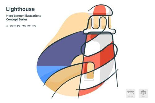 طرح لایه باز بنر فانوس دریایی Lighthouse Building Landmark Vector Illustration