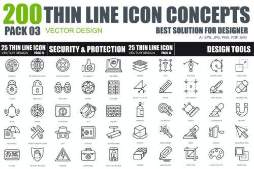 طرح لایه باز ست آیکون امنیت و حفاظت Line icons