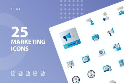 طرح لایه باز ست آیکون تبلیغات و بازاریابی Marketing Flat Icons