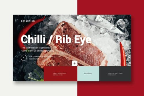 طرح UI/UX منو غذا Meat & Restaurant - Landing Page