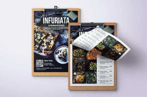 طرح لایه باز منو غذا Minimal Modern Single Page A4 & US Letter Menu