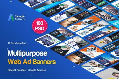 طرح UI/UX بنر چندمنظوره Multipurpose Banners Ad - 180PSD [ 10 Sets ]