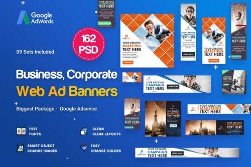 طرح UI/UX بنر تجاری Multipurpose, Business Banners Ad - 162 PSD