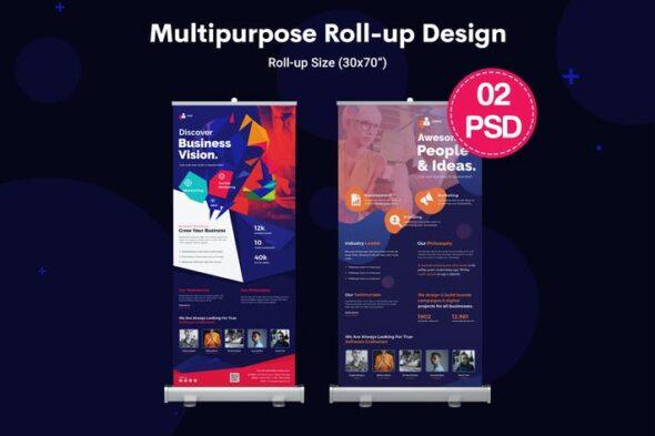 طرح لایه باز بنر و استند چندمنظوره Multipurpose, Business Roll-up Banners