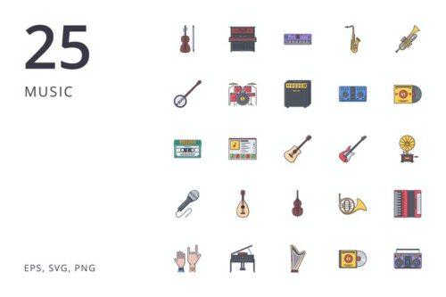 طرح لایه باز ست آیکون موسیقی Music 25