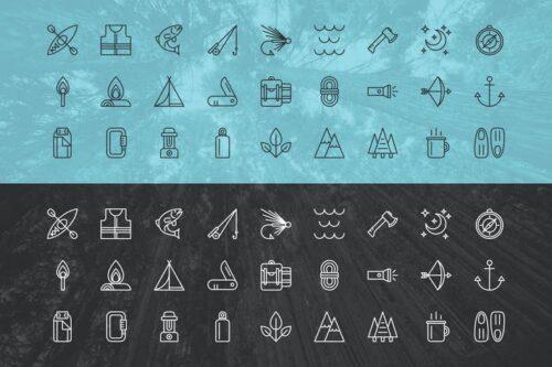 طرح لایه باز ست آیکون سفر و ماجراجویی Outdoor Adventure Icons