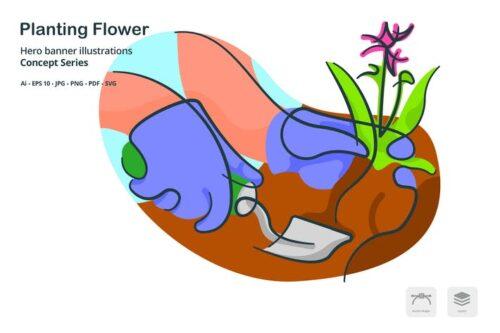 طرح لایه باز آیکون گل و گیاه Planting Flower Agriculture Vector Illustration