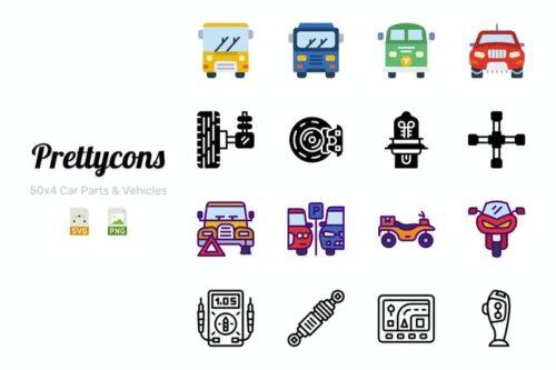 طرح لایه باز ست وسایل نقلیه و لوازم یدکی Prettycons - 200 Car Parts & Vehicles Icons Vol.1