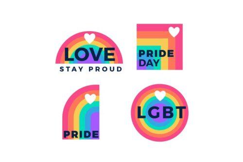 طرح لایه باز ست آیکون همجنسگرایی Pride Day Labels