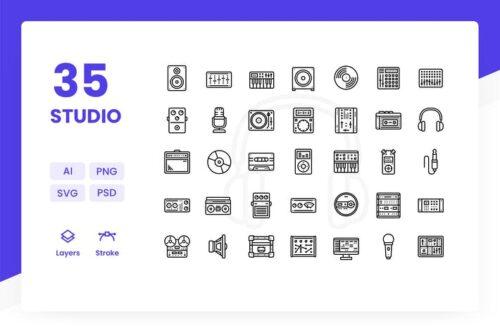 طرح لایه باز ست آیکون استودیو ضبط Recording Studio - Icons Pack