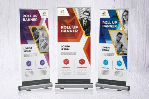 طرح لایه باز بنر و استند تجاری Roll Up Banner Business Promotion