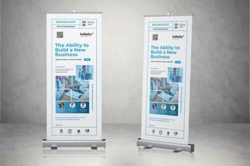 طرح لایه باز بنر همایش و ایونت Roll Up Banner Event Business Promotion