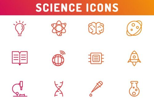 طرح لایه باز ست آیکون علم و دانش Science Icons