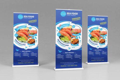 طرح لایه باز بنر رستوران Seafood Restauran - Open hours/ RollUp Template
