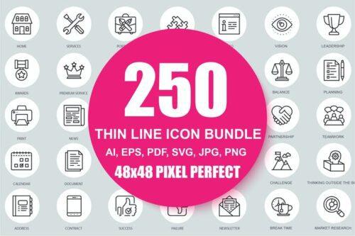 طرح لایه باز ست آیکون تجاری Set of Business Line icons