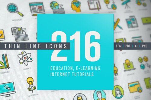 طرح لایه باز ست آیکون آموزش آنلاین Set of Thin Line Icons for Online Education