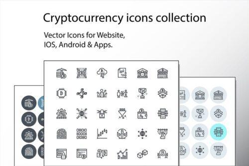 طرح لایه باز ست آیکون ارز دیجیتال Set of thin line cryptocurrency icons