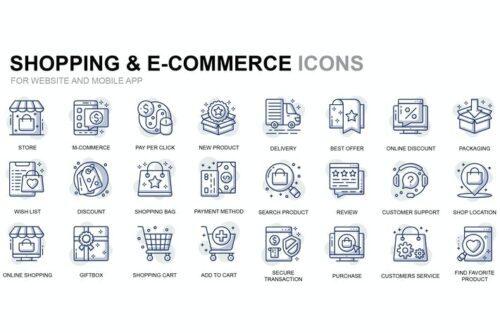طرح لایه باز ست آیکون تجارت الکترونیک Shopping and E-Commerce Thin Line Icons