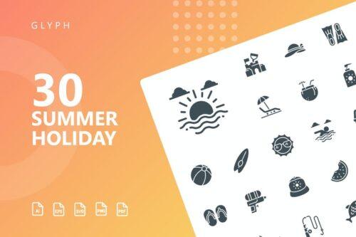 طرح لایه باز ست آیکون تعطیلات تابستانی Summer Holiday Glyph Icons
