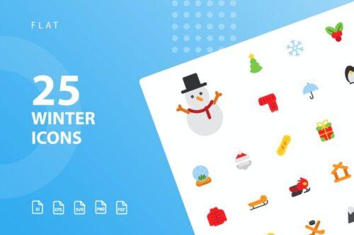 طرح لایه باز ست آیکون زمستان Winter Flat Icons