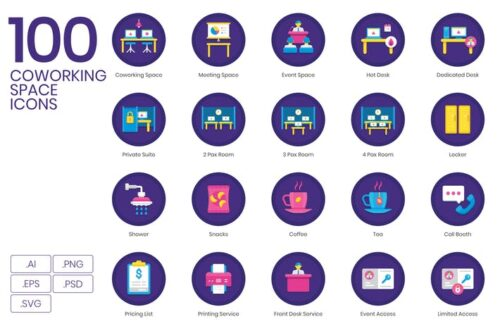 طرح لایه باز ست آیکون فضای کار اشتراکی 100 Coworking Space Icons