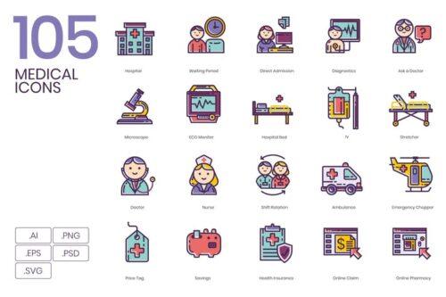 طرح لایه باز ست آیکون پزشکی 105 Medical Icons
