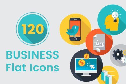 طرح لایه باز ست آیکون تجاری 120 Business Flat Icons