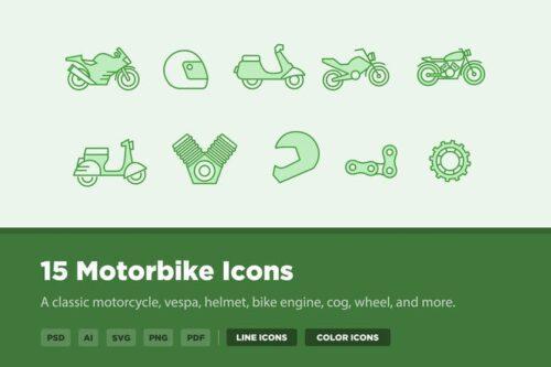 طرح لایه باز ست آیکون موتورسیکلت 15 Motorbike Icons