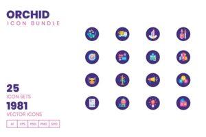 طرح لایه باز ست آیکون لجستیک و تکنولوژی 1980+ Icons – Orchid Icon Bundle
