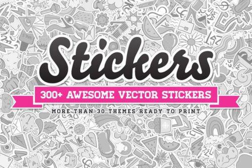 طرح لایه باز ست آیکون استیکر 300+ Stickers Vector Set