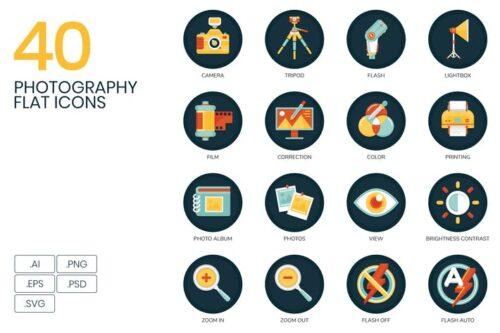 طرح لایه باز ست آیکون عکاسی 40 Photography Icons