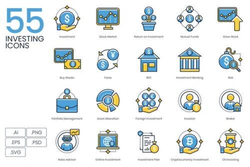 طرح لایه باز ست آیکون سرمایه گذاری 55 Investing Icons