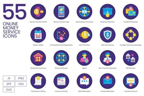 طرح لایه باز ست آیکون خدمات بانکداری آنلاین 55 Online Money Service Icons