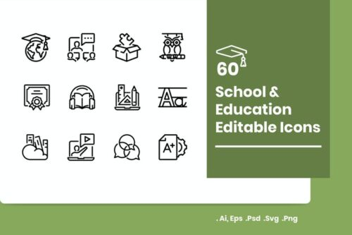 طرح لایه باز ست آیکون مدرسه و آموزش 60 School and Education Icons