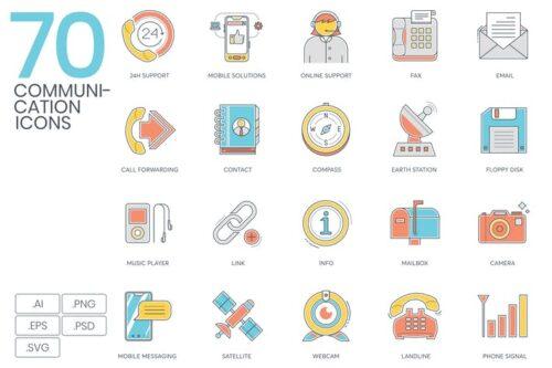 طرح لایه باز ست آیکون ارتباطات 70 Communication Icons