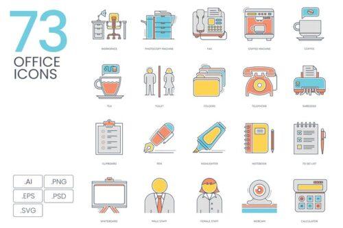 طرح لایه باز ست آیکون اداری 73 Office Color Line Icons