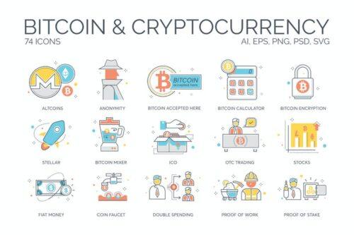 طرح لایه باز ست آیکون ارز دیجیتال 74 Bitcoin & Cryptocurrency Icons