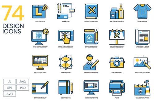 طرح لایه باز ست آیکون طراحی 74 Design Icons