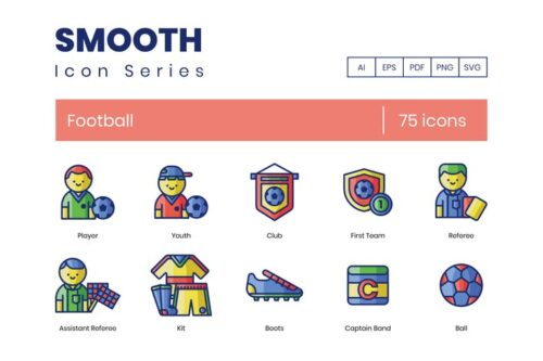 طرح لایه باز ست آیکون فوتبال 75 Football (Soccer) Line Icons