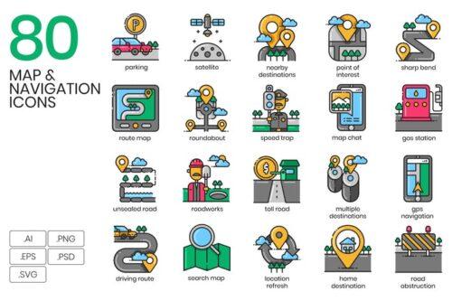 طرح لایه باز ست آیکون نقشه 80 Map & Navigation Icons
