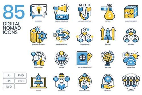 طرح لایه باز ست آیکون دیجیتال 85 Digital Nomad Icons